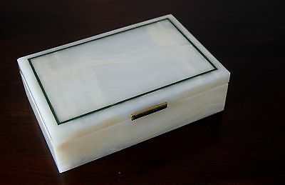 Art Deco White Onyx & Malachite Cigarette Box By Henry Griffith & Sons