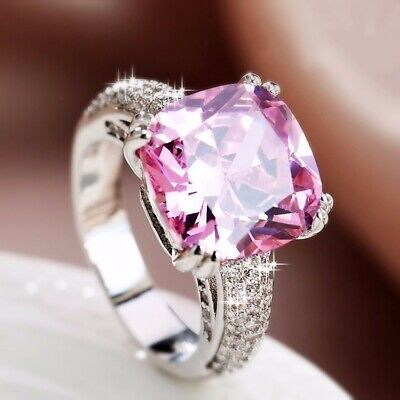 18K White Gold Plated CZ Gorgeous Pink Cushion Cut Side Stones Engagement Ring