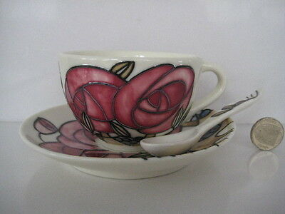 Old Tupton Ware Tea Cup & Saucer Spoon Hand Tube Lined Decoration Moorcroft Type