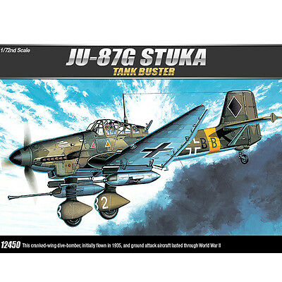 Academy 1/72 JU-87G STUKA TANK BUSTER Plastic Model Kit Airplanes #12450