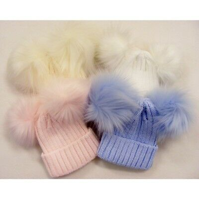Two Fur Pom Pom Knitted Winter Hat 0-12 12-24 Mth & 2-4 5-6 Years One Supplied