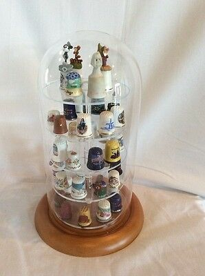 42 Thimble Glass Dome with W/ oak Base (no thimbles included) 5.5x11 #335tpok