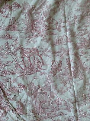 Vintage French Fabric Toile de Jouy Cotton Romantic pastoral Countryside 47 X 36