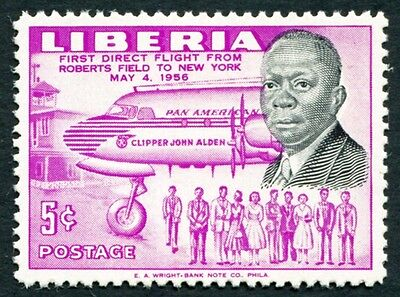 LIBERIA 1957 5c black and mauve SG792 mint MH FG Direct Air Service #W2