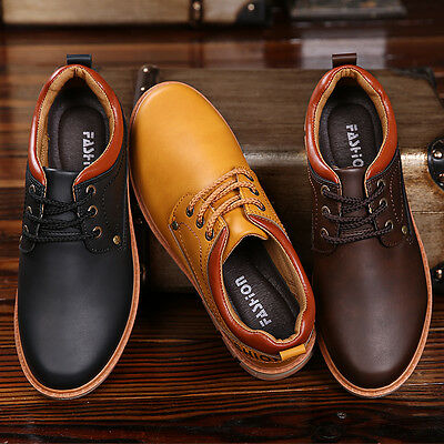 Autumn Mens Leather Dress Formal Fashion Business Shoes Lace up Walk Black Brown