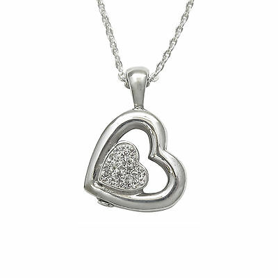 Silver Heart Within Cremation Ashes Urn Pendant Necklace - Sterling Silver