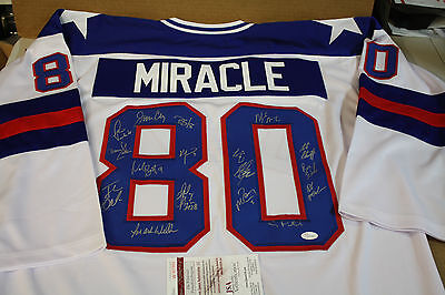 """1980 """"miracle On Ice"""" Team Usa Signed White Jersey Size Xl Jsa Witness 17 Sigs"""