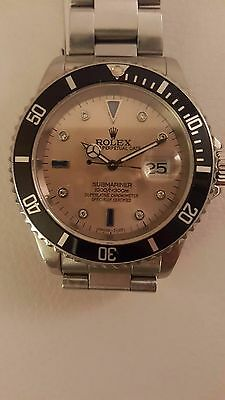 Rolex Submariner Mens Watch With Rare Slate Serti Dial With Diamonds & Sapphire