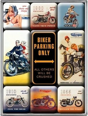 Nostalgic-Art Magnet Set 9-tlg. Biker Parking Only 83018