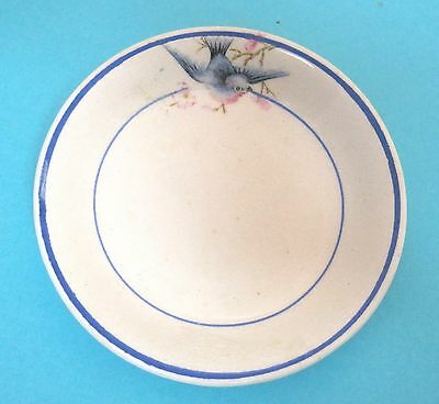 "Vintage Blue Bird of Happiness Butter Pat Butterpat 3 1/4"" Great Shape OLD! T73"