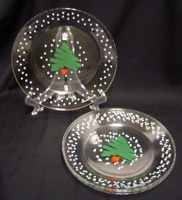 Arcoroc France Christmas Tree Confetti Glass Salad Luncheon Plates 2 Vintage