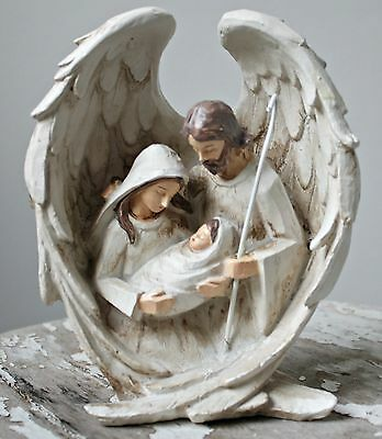 Nativity Figurine Angel Wings Holy Family White Rustic Neutral Christmas Decor