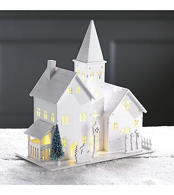 Wooden House Christmas Decoration Warm White LED Lights batteries (not inc)