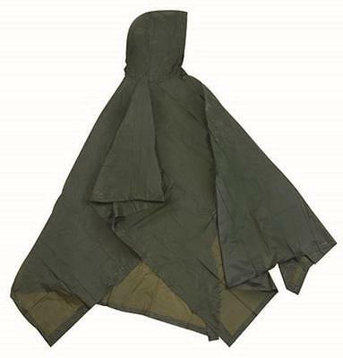 Stansport Compact Vinyl Poncho w/Hood OD Olive Green Camping Fishing Emergency
