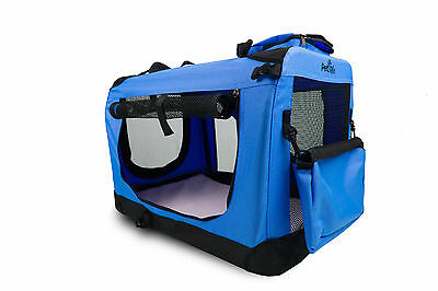 Pet Style Dog Puppy Cat Pet Portable Foldable Strong Soft Crate Carrier Blue