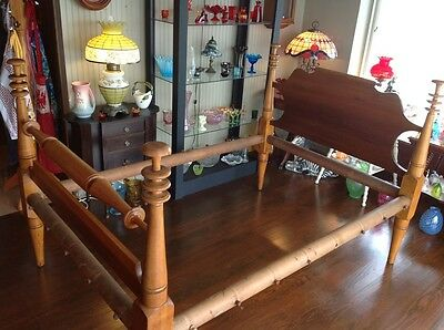 VINTAGE Antique Full Size MAPLE ORNATE Rope Bed HEADBOARD RAILS