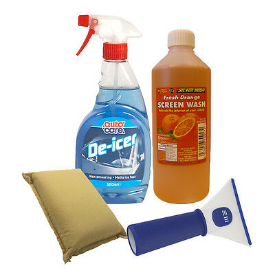 Winter Set De Icer Spray + Orange Scent Screen Wash + Ice Scraper + Demist Pad