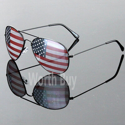 New Patriotic Sunglasses American Flag USA Lens Star Stripe Pilot Shades Patriot