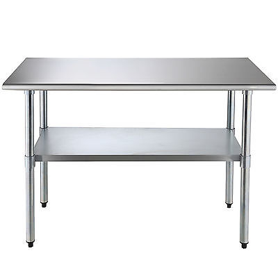 "Commercial Stainless 24"" x 48"" Steel Work Food Prep Table Kitchen Restaurant"