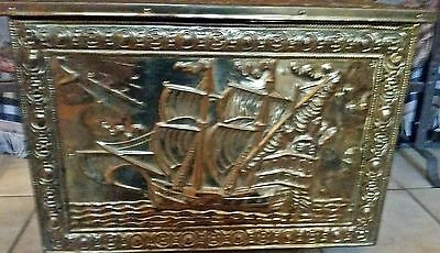 Antique Brass Embossed English Kindling Box Firewood Firebox