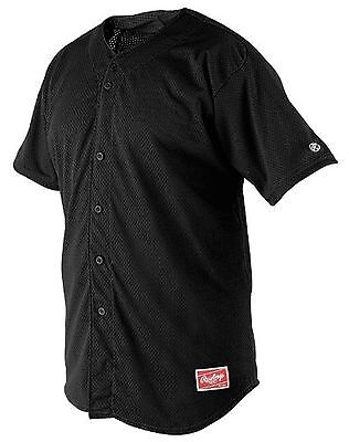 Rawlings Youth Full Button YBJ167 Jersey Black Youth Large