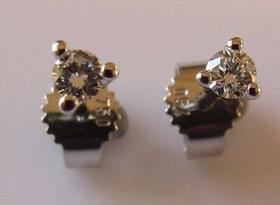 SECONDHAND 18CT WHITE GOLD BRILLIANT ROUND CUT DIAMOND (0.05ctx2) STUD EARRINGS.