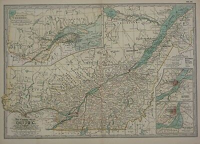 Original 1897 Map QUEBEC Railways Canals Steamships Battlefields Montreal Canada