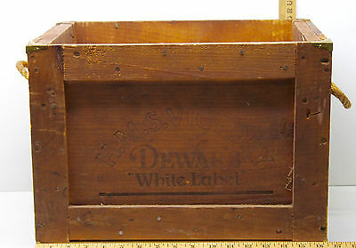 H.M.S. Victory Dewar's White Label Scotch Whiskey Wood Box+Brass Corners+Ropes