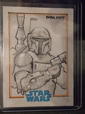 2015 Topps Star Wars Journey To The Force Sketch Bien Flores 1/1 Boba Fett Art