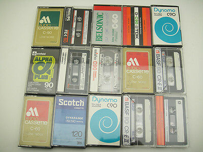 VINTAGE LOT of 15 Audio Cassette Tapes 70's 80's USED / Philips BASF TDK C60 C90