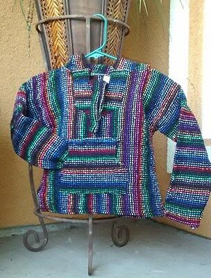 Baja Hoodie Children Poncho sweatshirt Drug rug Multicolored Striped Size 1T-4T