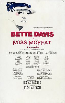 BETTE DAVIS / MISS MOFFAT (1974) Rare window card poster for Broadway production