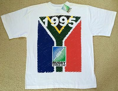 NWT 1995 Rugby Union World Cup Final South Africa New Zealand T Shirt Mens XL