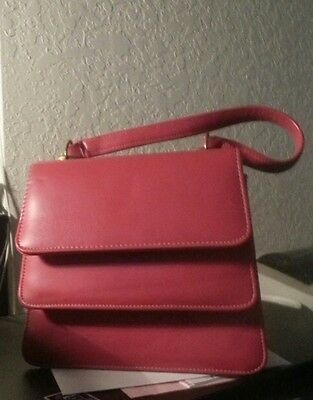 VintageHot Pink Leather Double Flap w/short strap  evening purse $16