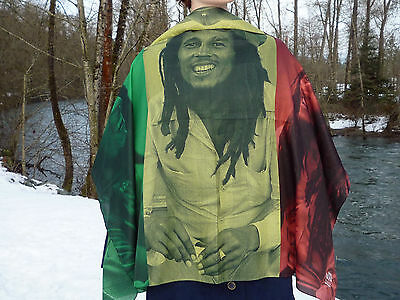 Bob Marley Flag Scarf Green Yellow Red  Bob On Each Color Mon ! It's Big Mon !