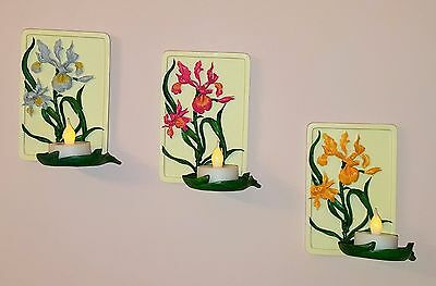 Wall hanging hand painted floral tealight holder