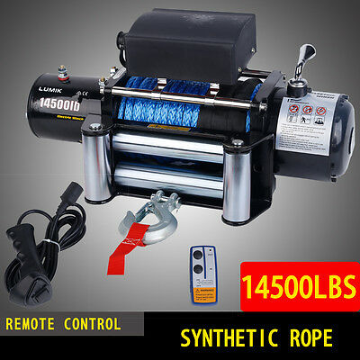 12V 14500LBS/6577KG Electric Winch 26M Synthetic Rope Remote ATV 4WD BOAT 4X4