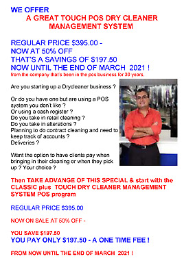 Touch Dry Cleaner Management System Point Of Sale Program !  50% Off !