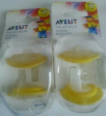 2 X 2pk AVENT Sippy Cup Magic Sport Spouts Toddler Non-Spill 18+ England Made