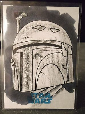 2015 Topps Star Wars Journey To The Force Sketch Kyle Babbit Boba Fett 1/1
