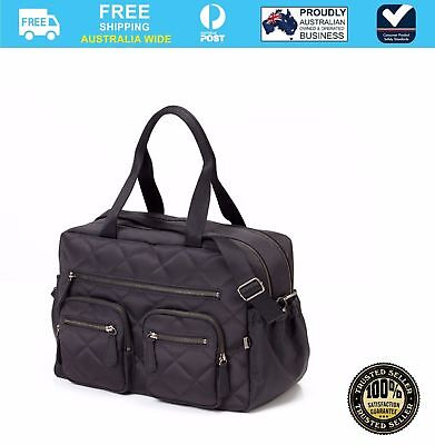 OiOi Carry all Nappy Bag Quilted Diamond Black #`6644