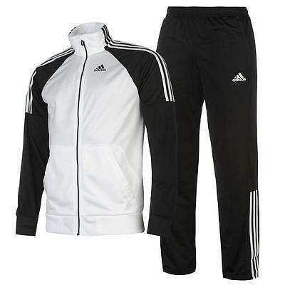 New Adidas MENS Gym Fitness Riberio Tracksuit Jacket Pants Black White SZ M L