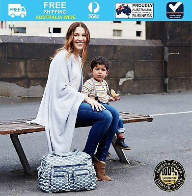OiOi Carry All Nappy Bag Smoke Blue Eclipse Dot + Free Gift worth $40