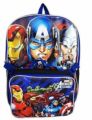 """Avengers Assemble Large 16"""" Cloth Backpack Book Bag Pack with Lunch Case Box"""