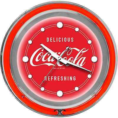 Trademark Global Large Deluxe Coca Cola Neon Clock with Two Neon Rings, 14-Inch