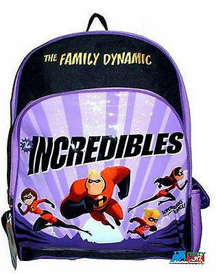 """The Incredibles Large 16"""" Cloth Backpack Book Bag Pack  - Purple"""