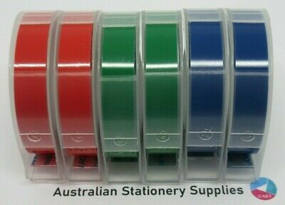 6 Dymo Xpress Embossing Tapes 9mm x 3M  Assorted  Red Blue Green in stock