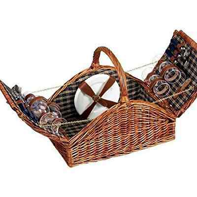 Household Essentials Woven Willow Picnic Basket, Square Shaped, Fully Lined, Ser