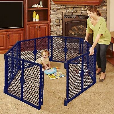 North States Superyard Classic 6-Panel Play Yard Portable Indoor-Outdoor Blue