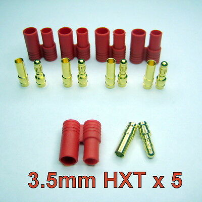 HXT 3.5mm RED BULLET GOLD PLUG BATTERY CONNECTOR x 5  Free Delivery from NSW